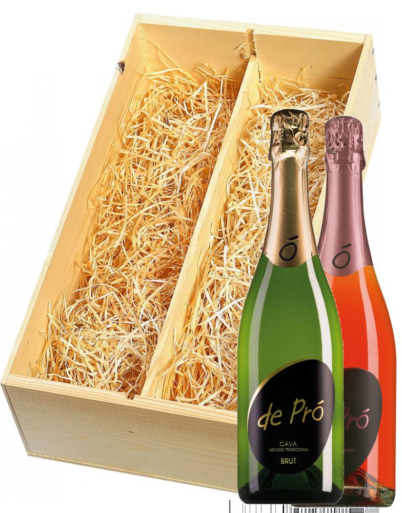Wijnkist met De Pró Cava Brut en Brut rosé