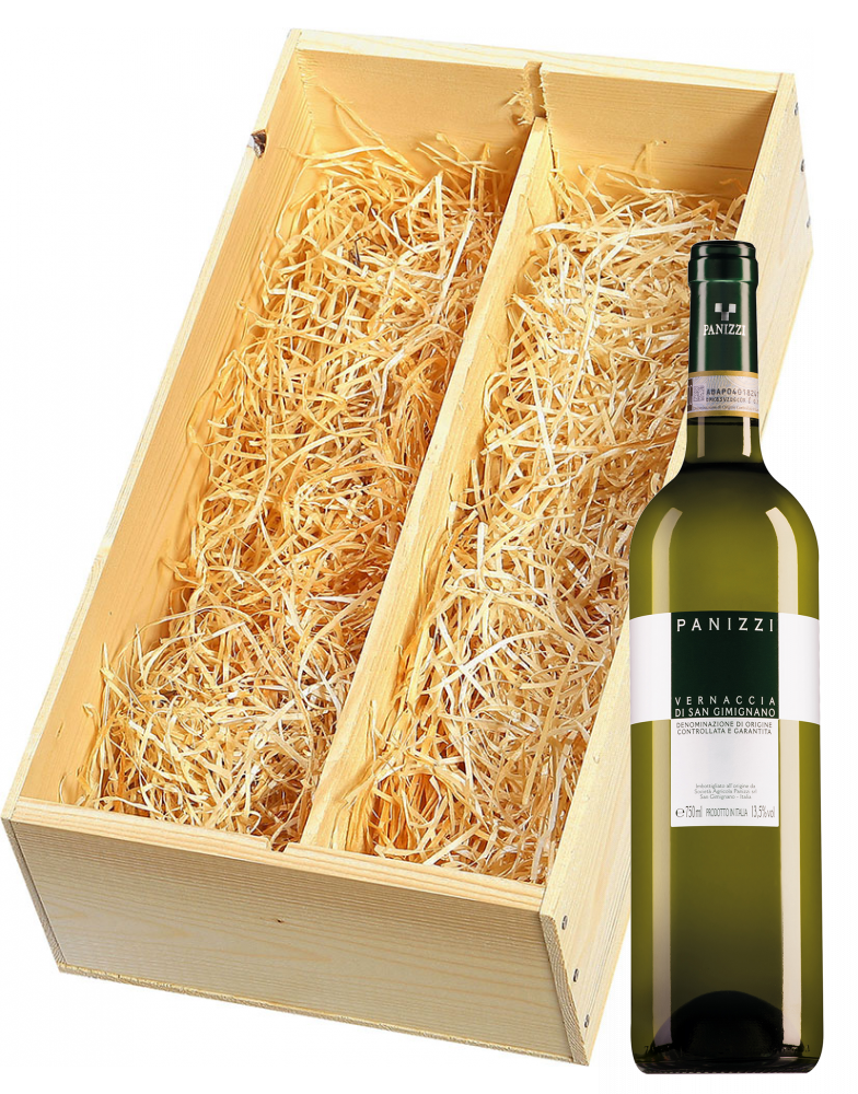 Wijnkist met Panizzi Vernaccia di San Gimignano en Panizzi Chianti Colli Senesi Riserva Vertunno