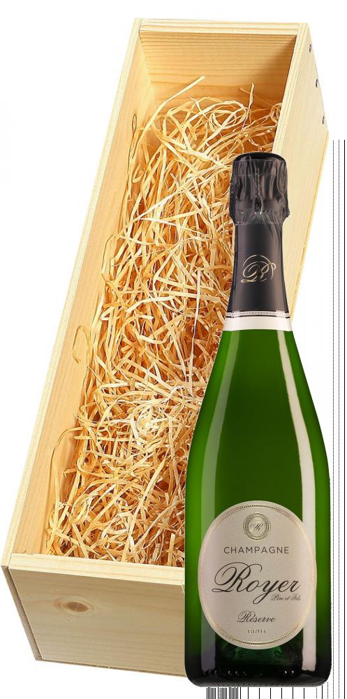 Wijnkist met Royer Champagne Réserve Brut