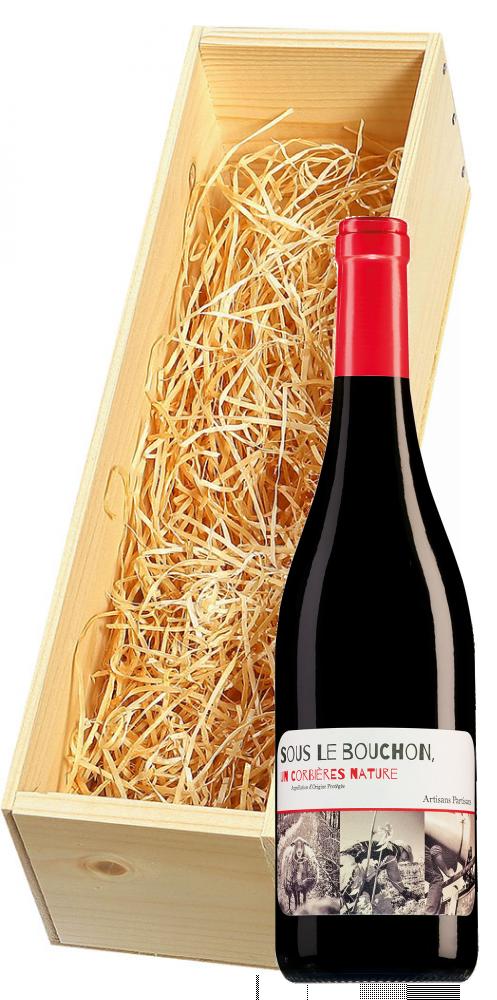 Wijnkist met Sous le Bouchon Corbières Nature