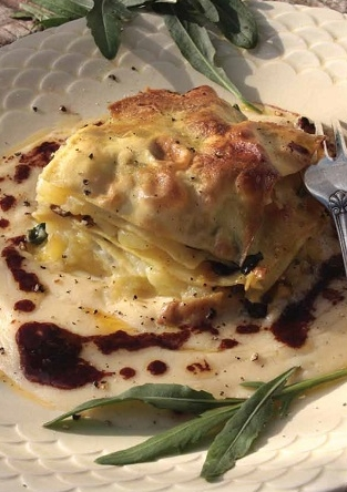 Lasagne met aardappel en gorgonzola