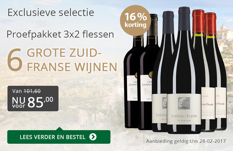 Proefpakket 6 grote Zuid-Franse wijnen (85,00) - grijs/goud