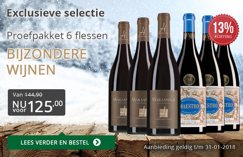 Proefpakket bijzondere wijnen januari 2018 (125,00) - grijs/goud