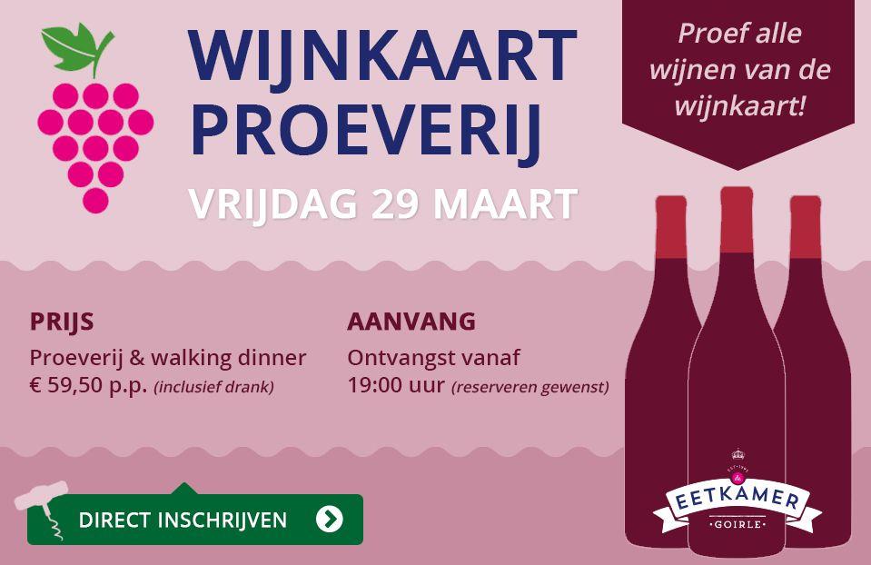 Wijnkaart proeverij vrijdag 29 maart