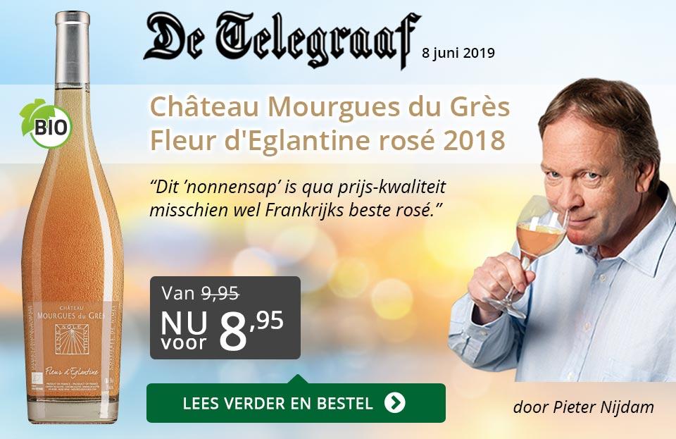 Telegraaf vermelding - Mourgues du Gres - grijs/goud