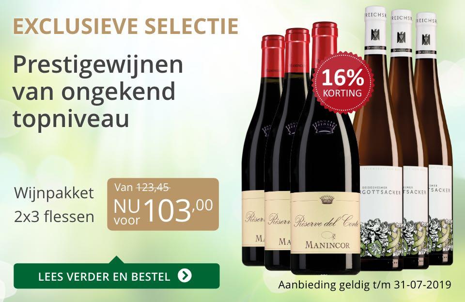 Wijnpakket bijzondere wijnen juli 2019 (103,00)- grijs/goud