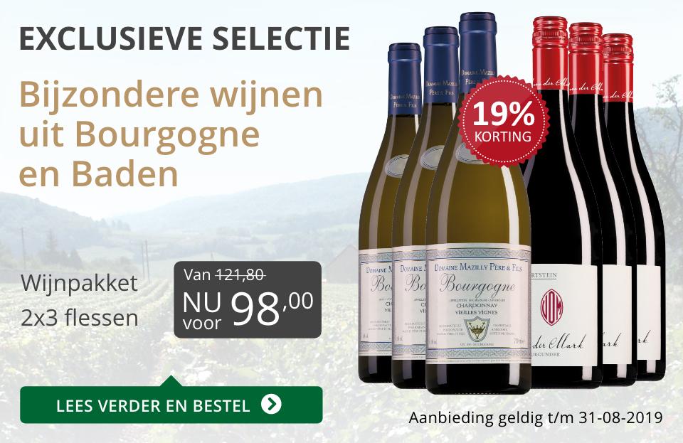 Wijnpakket bijzondere wijnen augustus2019 (98,00) - grijs/goud