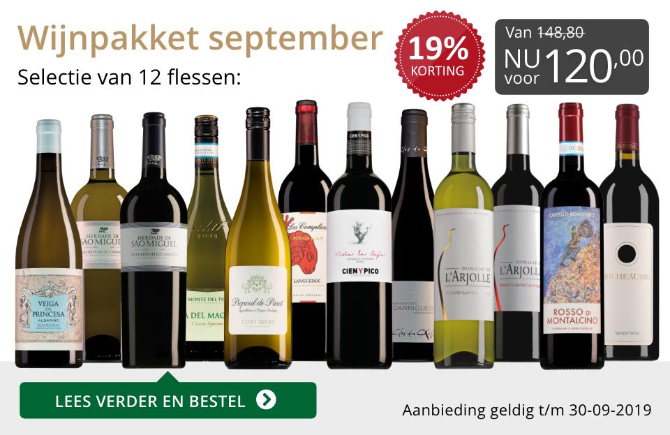 Wijnpakket wijnbericht september 2019 (120,00)- grijs/goud