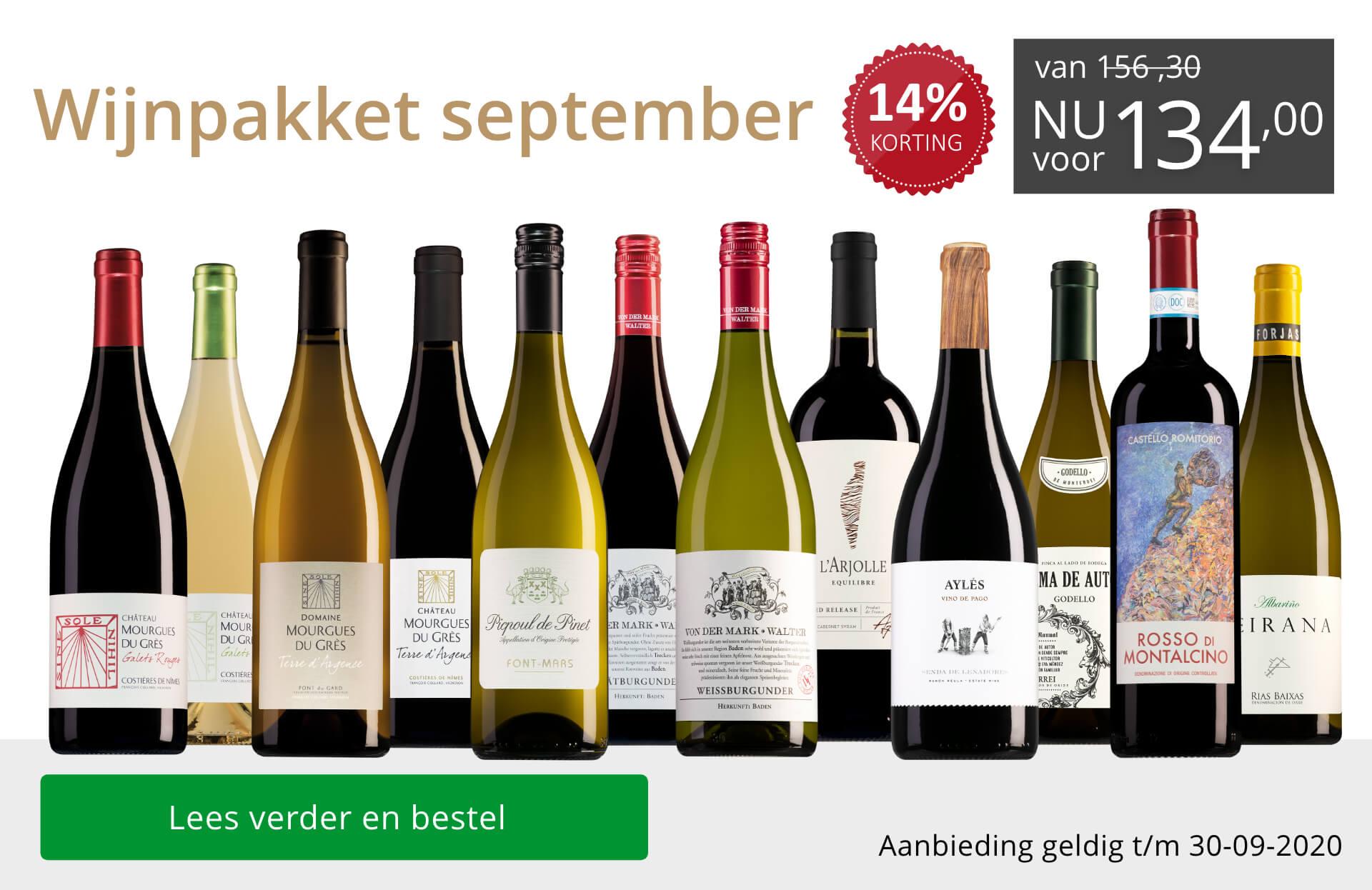 Wijnpakket wijnbericht september 2020 (134,00) - grijs/goud