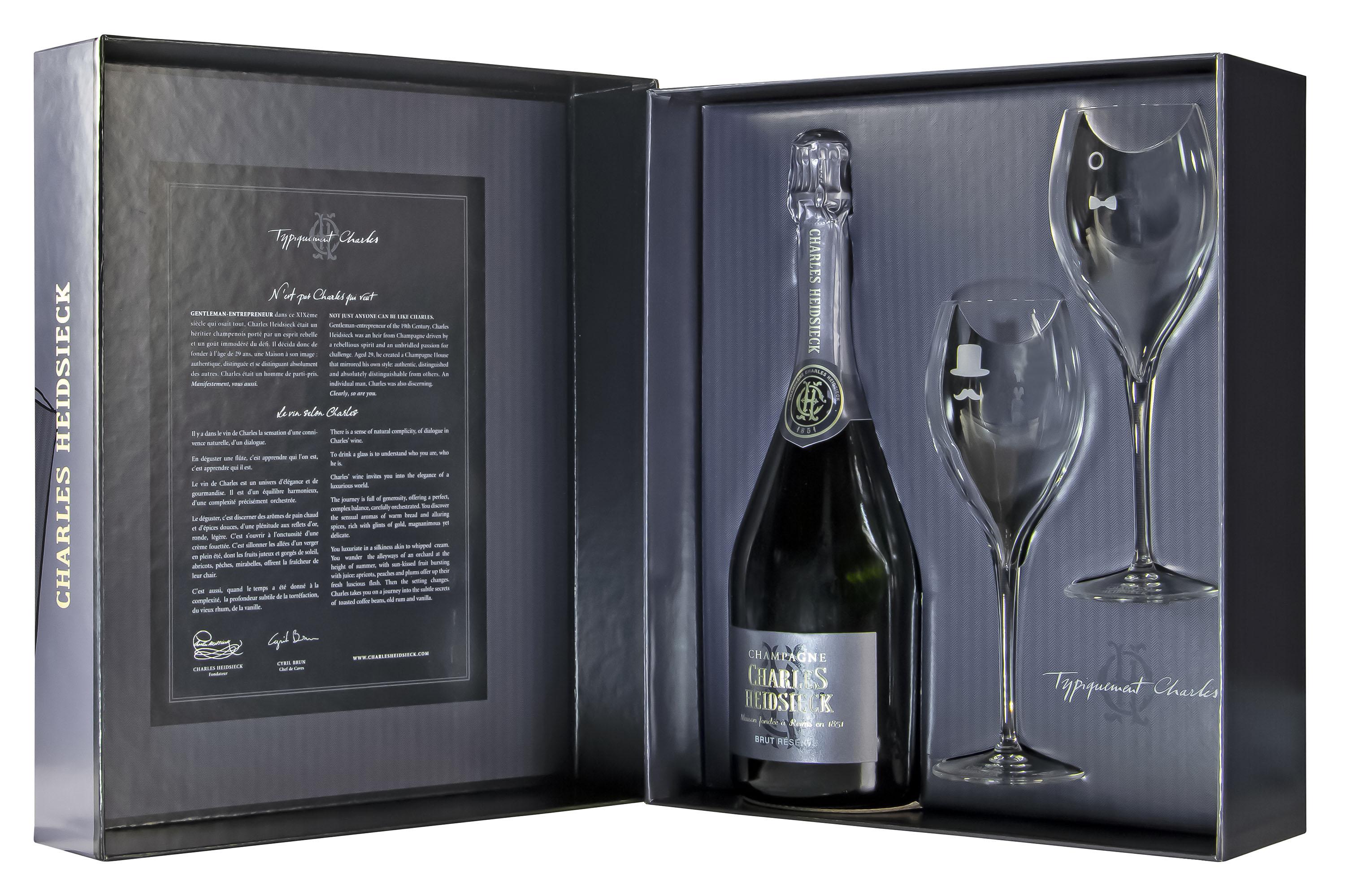 Charles Heidsieck Champagne Brut Réserve in geschenkdoos met 2 wijnglazen