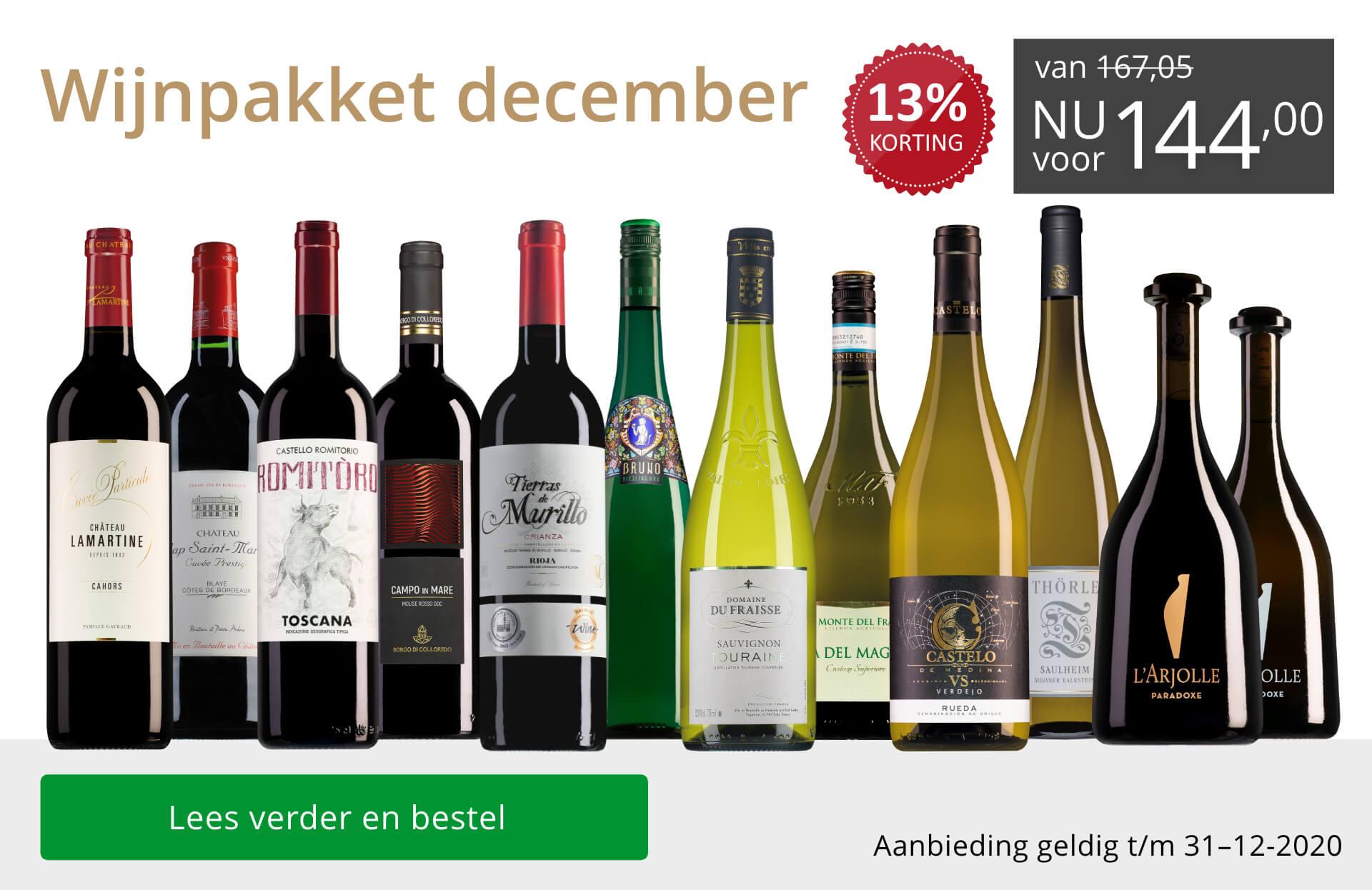 Wijnpakket wijnbericht december 2020 (144,00) - grijs/goud