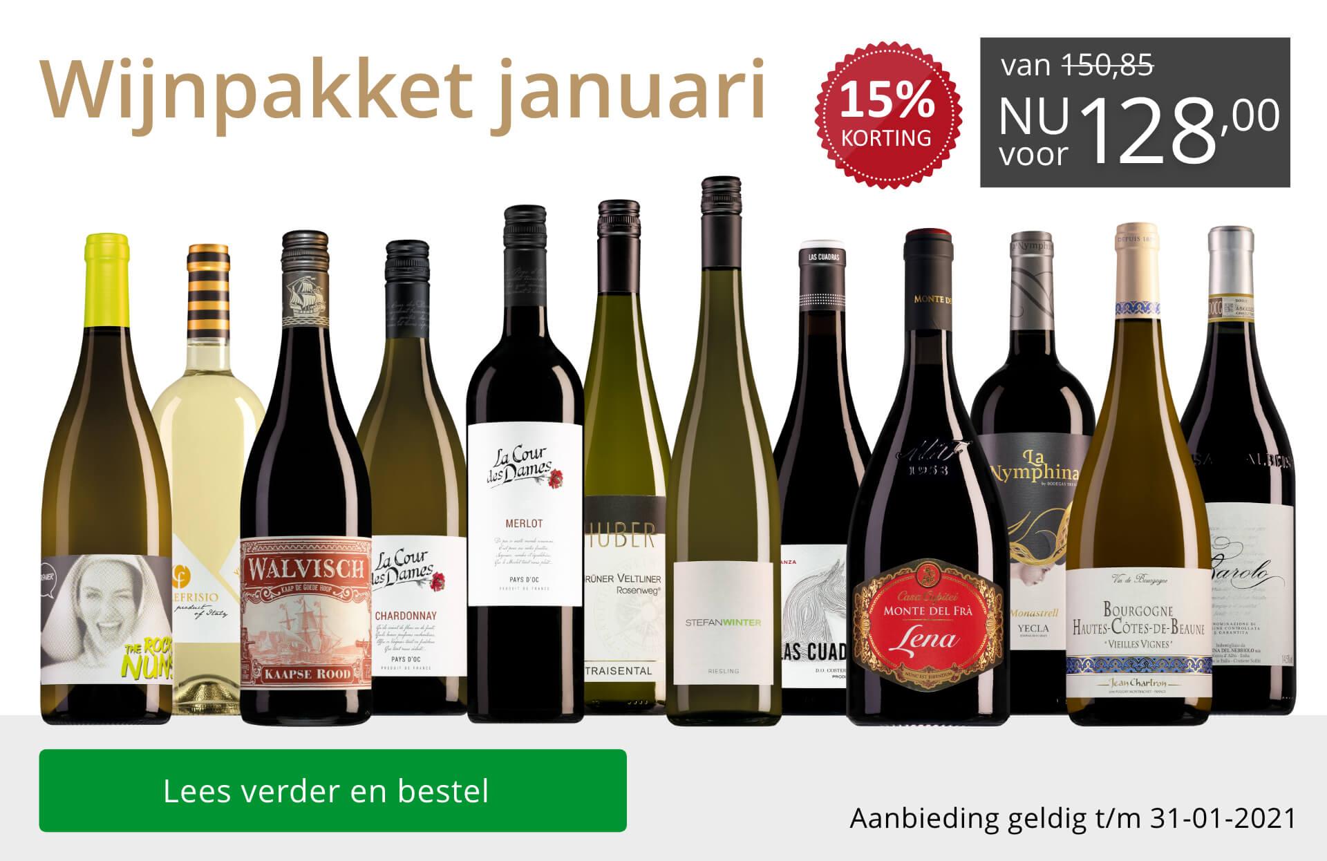 Wijnpakket wijnbericht januari 2021 (128,00) - grijs/goud