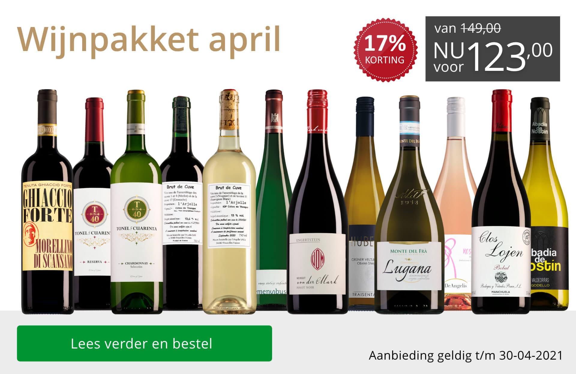 Wijnpakket wijnbericht april 2021 (123,00) - grijs/goud