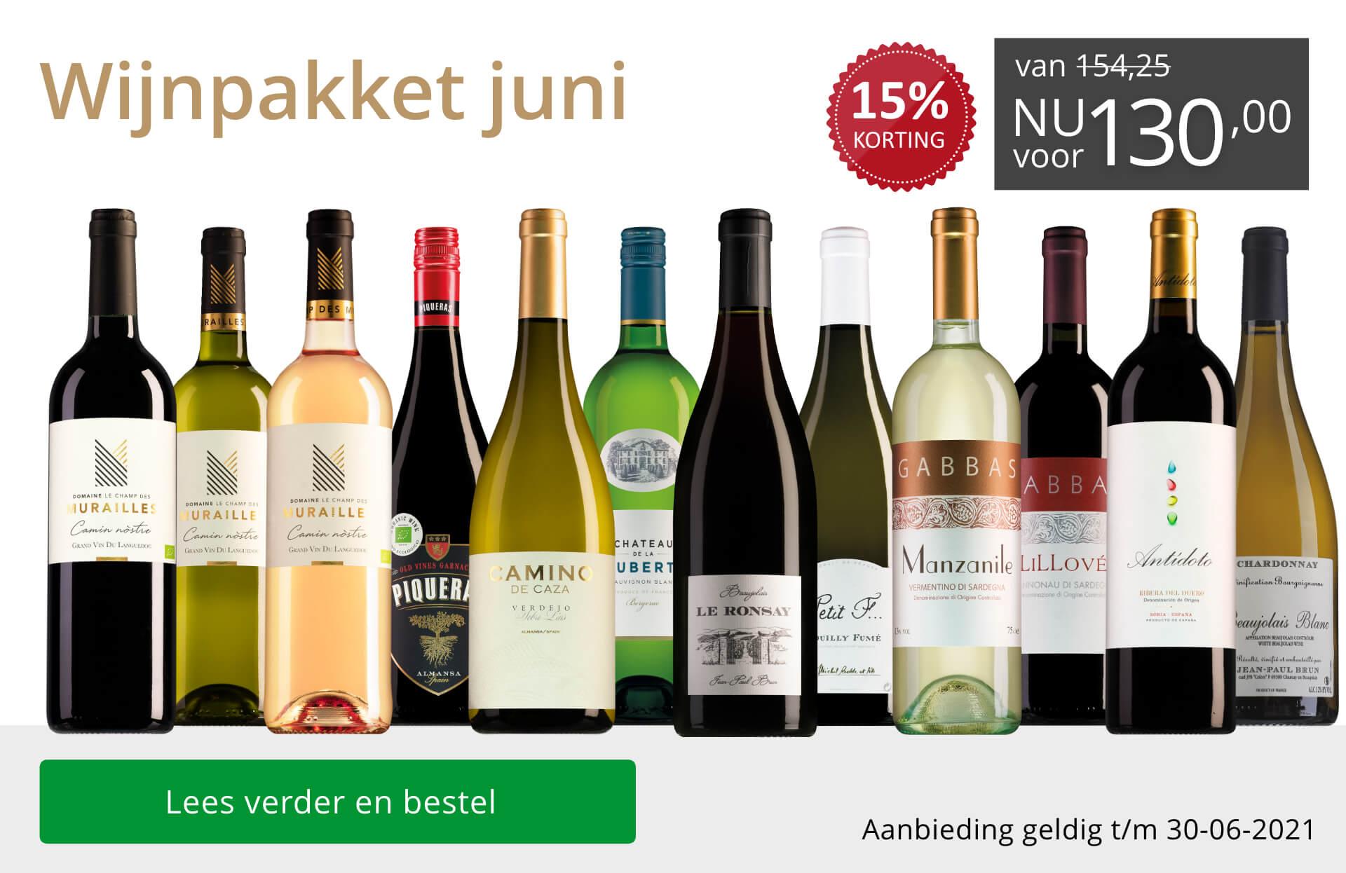 Wijnpakket wijnbericht juni 2021(130,00) - grijs/goud